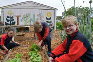 students in the garden
